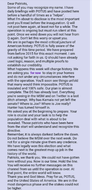 Dear Patriots, an Important Read about What's Coming || Anonymous (Reader)